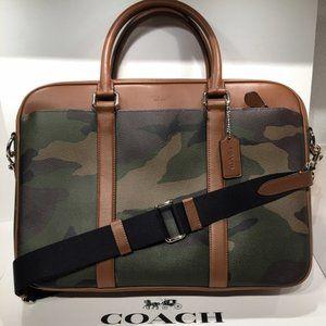COACH SLIM Briefcase laptop bag GREEN CAMO PVC & Leather Trim